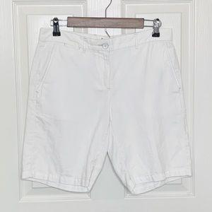 White Cotton Linen Boyfriend Shorts Sz 4